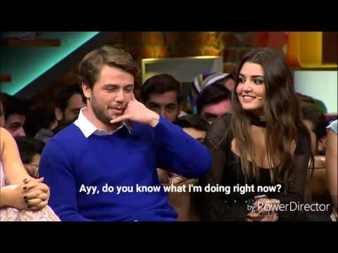 Gunesin Kizlari Cast - Beyaz Show - Hande calls Tolga in the middle of the night. English Subtitles.