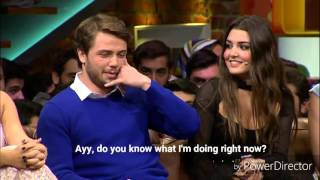 Gunesin Kizlari Cast - Beyaz Show - Hande calls Tolga in the middle of the night. English Subtitles.