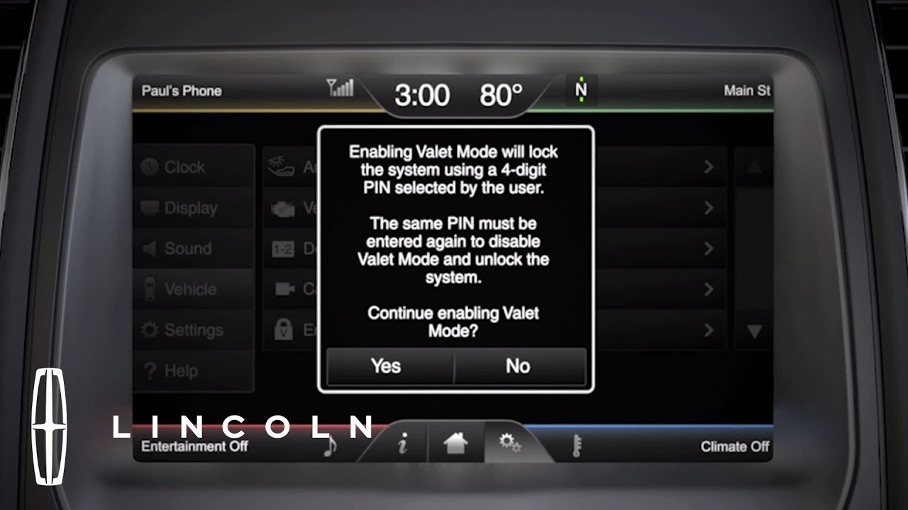 Sync With Mylincoln Touch Setting Valet Mode How To Lincoln