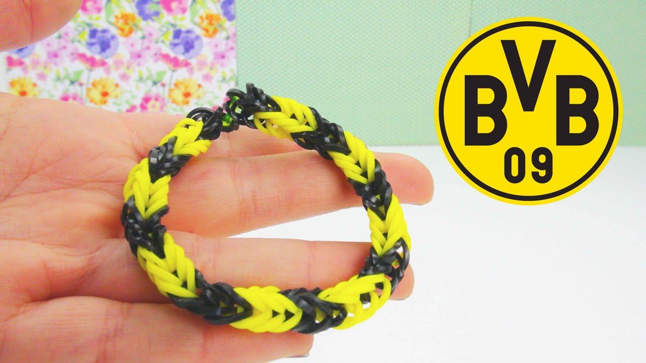 Rainbow Loom Bvb Borussia Dortmund Armband Fussball Loom Band