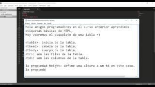 Crear tabla en html