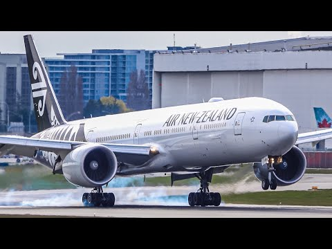 German Repatriation Flights With THREE Air New Zealand 77W Landing, Taxi & Take-off At Vancouver YVR