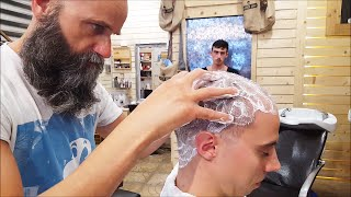 Repeat youtube video Old School Italian Barber - Head shave with shavette, hot towel and massage  - ASMR intentional