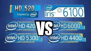 Intel HD 520 vs iris 6100/ HD 4200 5300 4400 6000,  Surface Pro 4 i5 6300U vs Surface Pro 2/3 i5