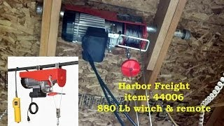 Electric winch HF #44006, 880lb- I had lifted my heavy work bench