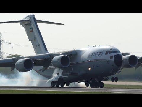 Kuwait Air Force C-17 Globe Master Smokey Touchdown at Manchester Airport