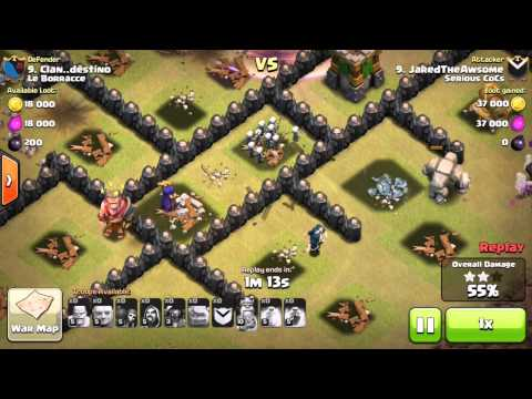 HOW TO 3 STAR A MAX TOWNHALL 8 TH8 USING NON AIR TROOPS W. WAR REPLAYS!
