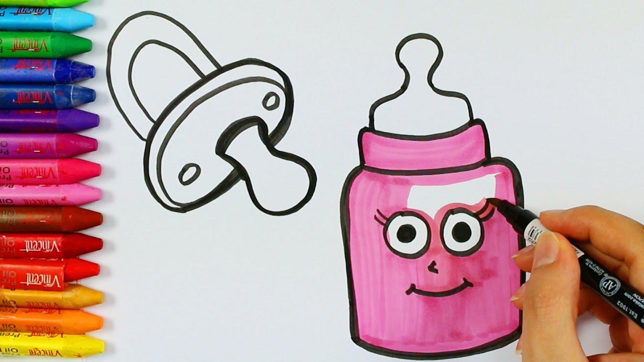 Babyflasche Malvorlagen 💕 | Wie zeichne | Malbuch | Farben für ...