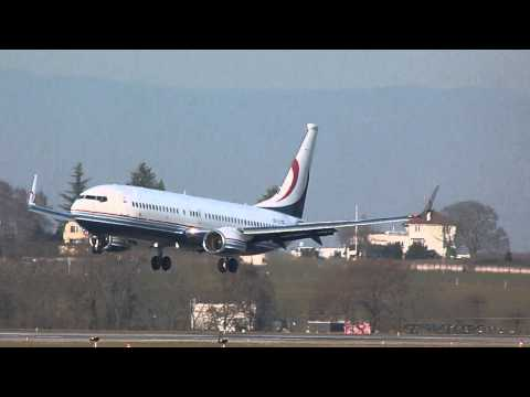 [HD] Global Jet Austria Boeing 737-800(BBJ2) landing at Geneva/GVA/LSGG