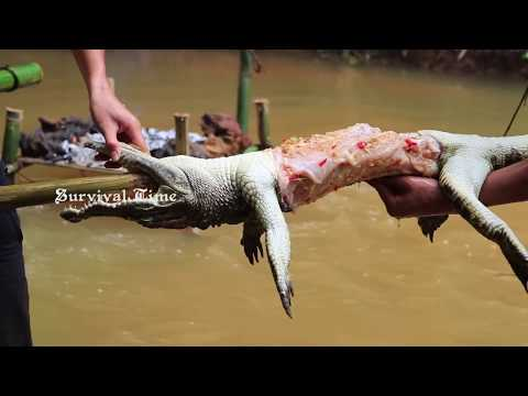 Primitive Technology: Cooking Big Crocodile in the Forest For Food | Roasted Crocodile By Waterwheel
