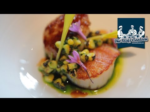 Seared Orkney scallop, confit chicken wing and BBQ corn recipe by Matt Worswick
