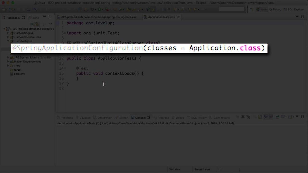 Setup and preload database for spring integration/functional tests
