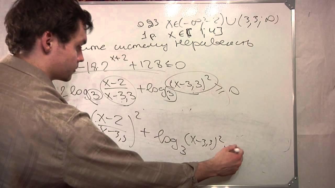 Пробный ЕГЭ математика С3. Решите  систему неравенств.