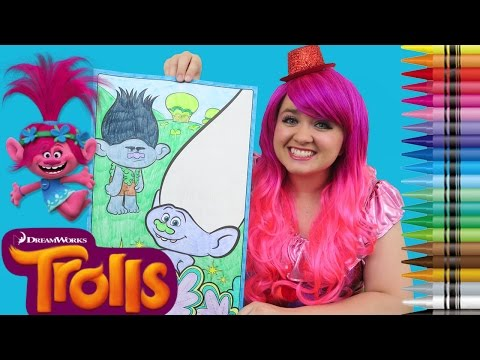 Thumbnail: Coloring Trolls Branch & Guy Diamond GIANT Coloring Book Page Crayola Crayons | KiMMi THE CLOWN
