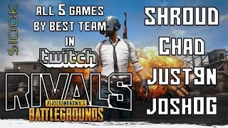 SHROUD - ALL 5 GAMES of TWITCH RIVALS PUBG Tournament  2018 ($100k) + DOC RAGE!