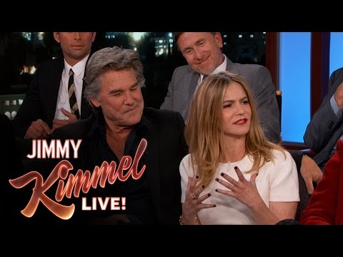 Kurt Russell & Jennifer Jason Leigh are Handcuffed during The Hateful Eight