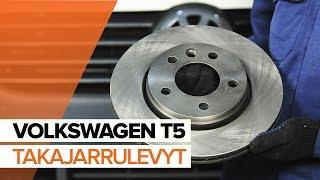 Kuinka vaihtaa Takajarrupalat ja etujarrupalat VW TRANSPORTER V Platform/Chassis (7JD, 7JE, 7JL, 7JY, 7JZ, 7FD) - ilmaiseksi video verkossa