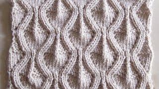 Объемный ажурный узор Вязание спицами Видеоурок 98
