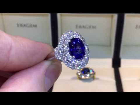 4 Carat Sapphire Ring w/ Diamond Halo In White Gold