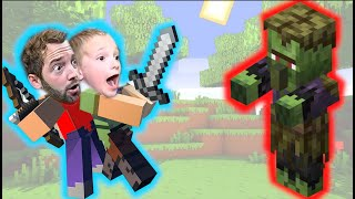 FATHER SON MINECRAFT! / Zombie Villagers EVERYWHERE!