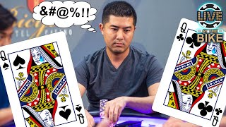 Unlucky River Card in Back-to-Back Hands ♠ Live at the Bike!