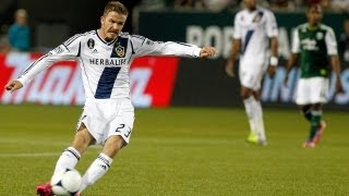 David Beckham curls in a signature free kick to give the Galaxy the lead over the Portland Timbers