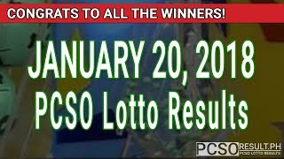 PCSO Lotto Results Today January 20, 2018 (6/55, 6/42, 6D, Swertres, STL & EZ2)