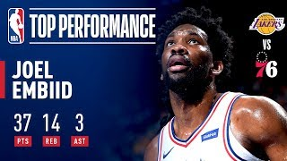 Joel Embiid Drops 37 Points (12-16 FG) & Grabs 14 Boards vs Lakers | February 10, 2019