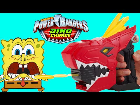 power-rangers-vs-spongebob-toys-dino-charge-t-rex-launcher-toy-review-video