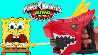 POWER RANGERS VS SPONGEBOB TOYS Dino Charge T-Rex Launcher Toy Review Video