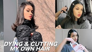 DYING MY HAIR BLACK & CUTTING MY HAIR OFF + VLOG