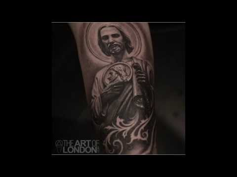 Realistic Black and Grey St. Jude Tattoo Time-lapse by London Reese ...