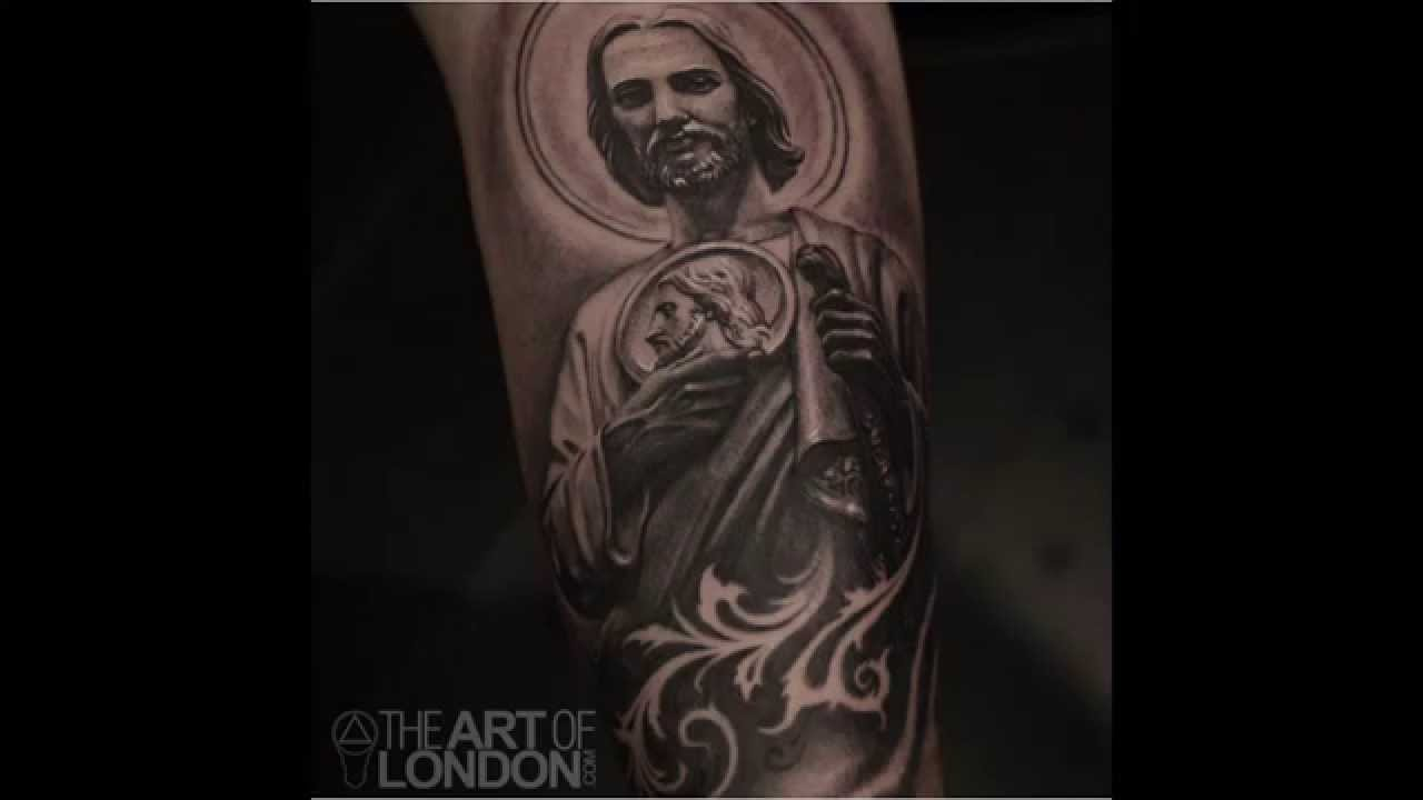 San Judas Tattoo: Realistic Black And Grey St. Jude Tattoo Time-lapse By