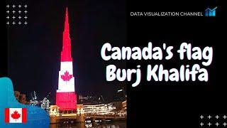 Canadian 🇨🇦flag lights up on World's tallest building Burj Khalifa in Independence day - Dubai, UAE