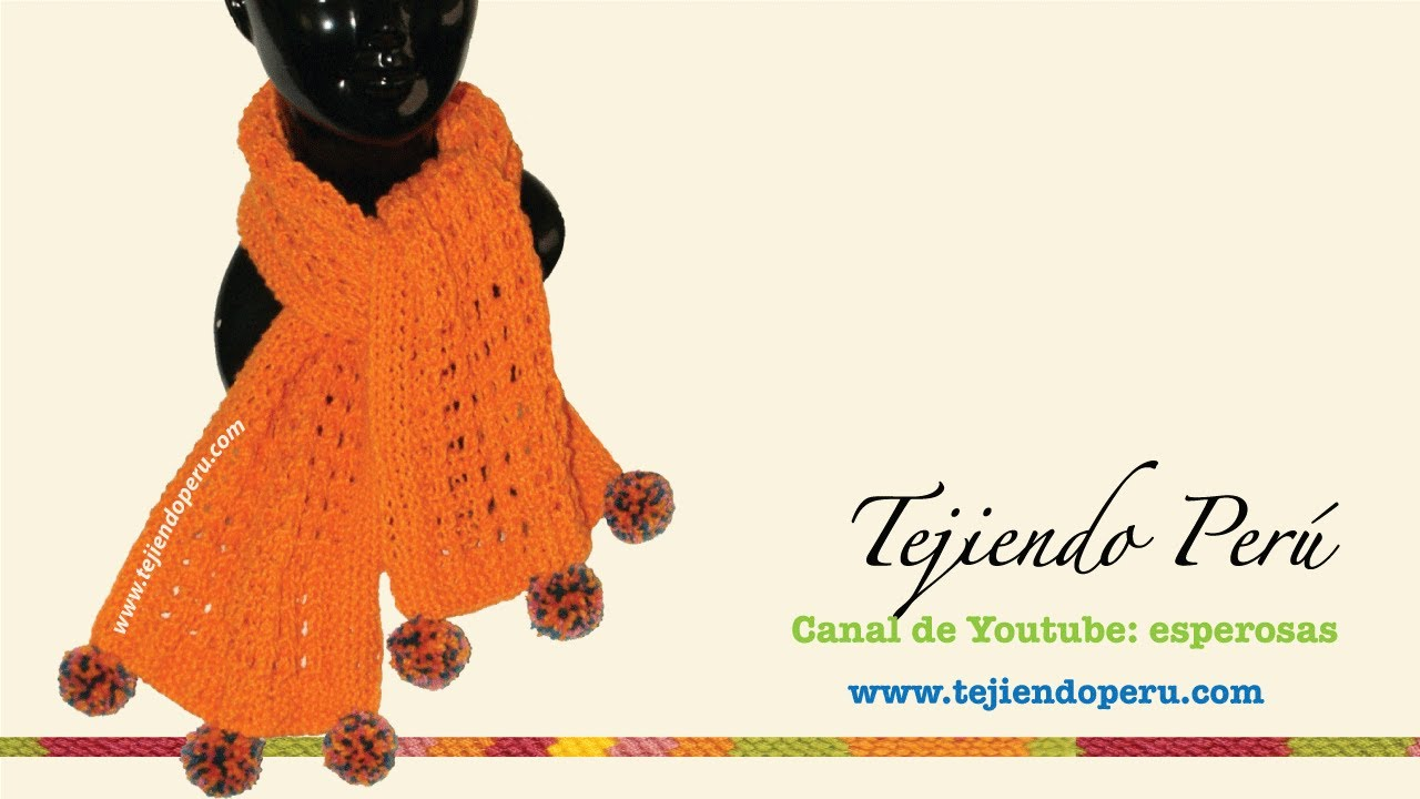 Bufanda calada y con textura tejida en dos agujas para principiantes ...