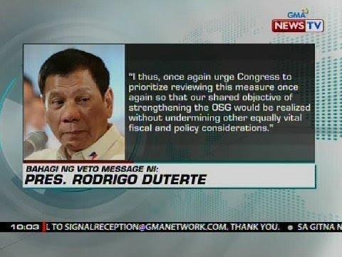 Panukalang palawigin and kapangyarihan ng Office of the Solicitor General, vineto ng pangulo