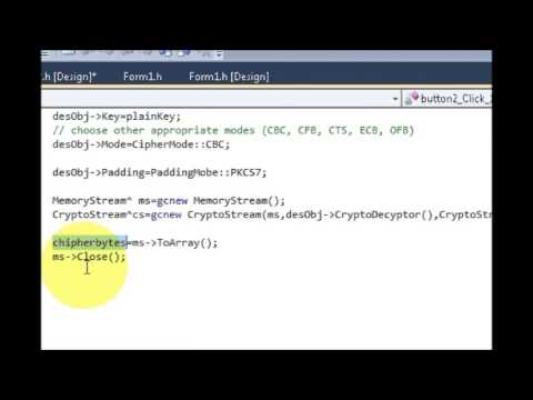 Visual C++ Tutorial 20 -Windows Forms Application: Encrypt data from simple  string Part 2