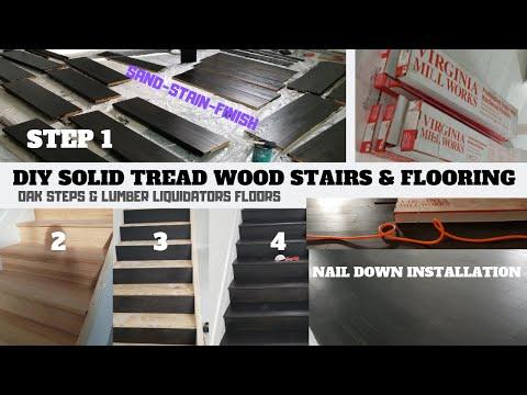 HOW TO INSTALL WOODEN STAIRS FOR BEGINNERS - DIY / STAIR RENOVATION & LUMBER LIQUIDATORS FLOORING