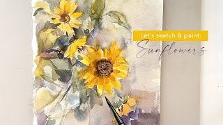 Loose watercolor painting techniques: Easy sunflower bouquet