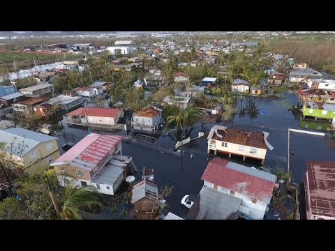 Drone footage shows flooding in Puerto Rico after Hurricane Maria