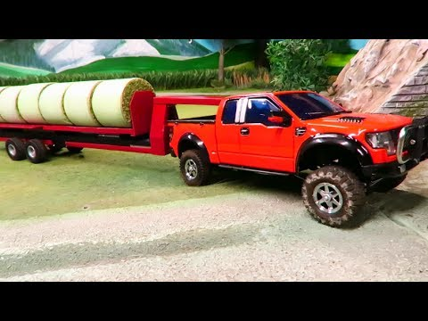 PICK UP TRUCK & Farm TRACTOR at work - rc toy  farming video