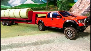 RC TRACTOR & FORD F-150 PICKUP TRUCK at farm work/Rc toys in action