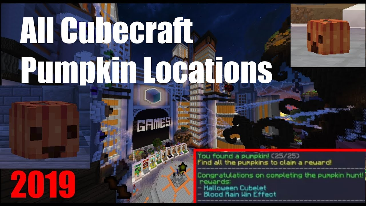 Cubecraft Halloween Hunt 2020 Cubecraft   HALLOWEEN PUMPKIN LOCATIONS of 2019 (ALL 25)   YouTube