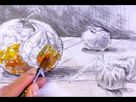 ganz einfach zeichnen lernen 8: fertige Skizze farbig anlegen
