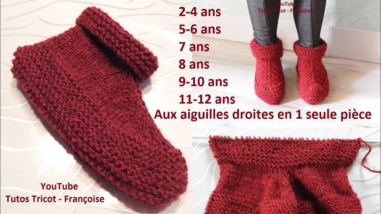 Tuto Tricot Chaussons Enfant Facile Aux Aiguilles Droites En 1 Seule Pièce Taille 2 à 12 Ans