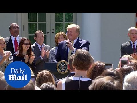 White House crowd sings Happy Birthday to President Trump