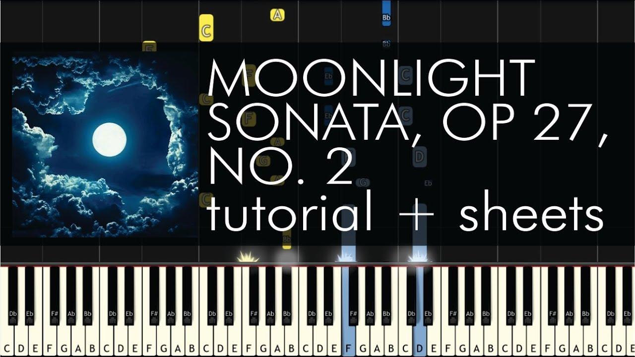 Beethoven - Piano Sonata No  14 (Moonlight Sonata), Op 27, No 2 - 1st  Movement - Piano Tutorial
