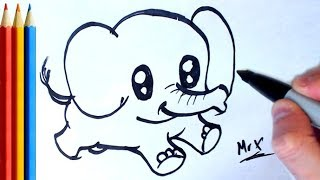 How to Draw Simple Running Elephant - Step by Step Tutorial For Kids
