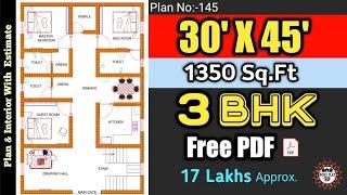 Download 30 x 45 House Plan II 30 x 45 Ghar Ka Naksha II Plan:145