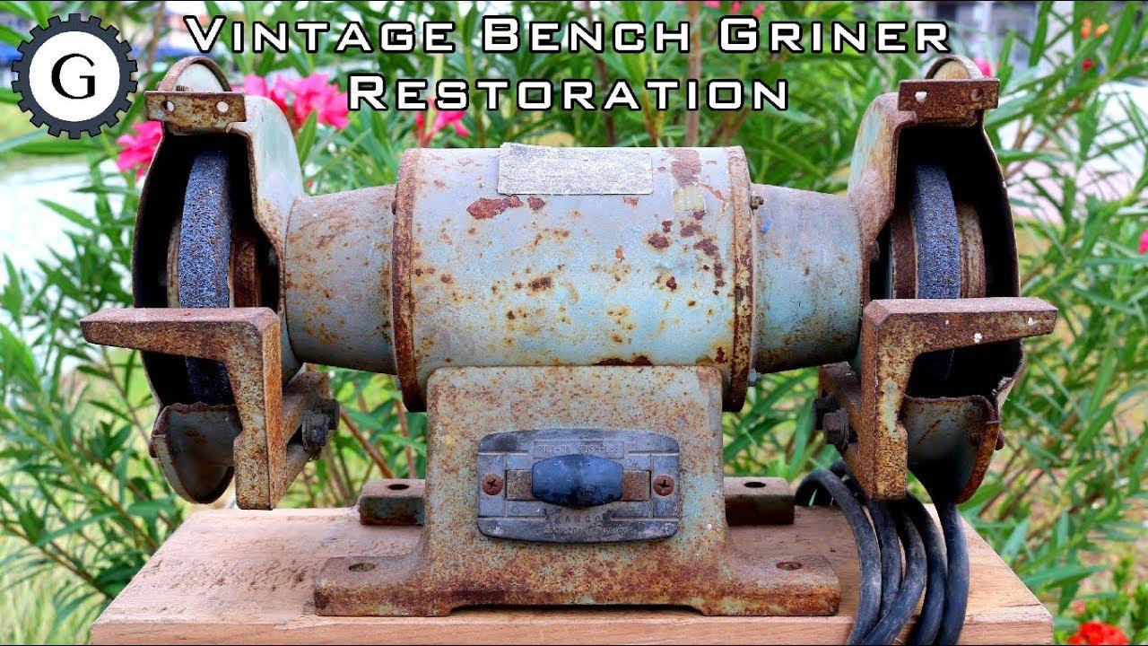 Vintage Bench Grinder Restoration 1974 Bench Grinder Youtube